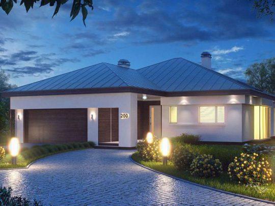 Moderna casa de 1 planta con techo a cuatro aguas