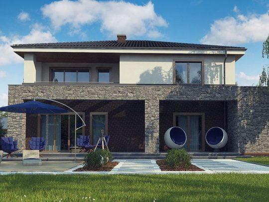 Casa revestida en piedra, 3 dormitorios de 2 niveles