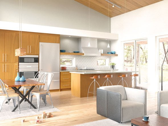 Diseño de la cocina, comedor y parte de la sala, el techo de madera tiene los colores de los muebles de la cocina.
