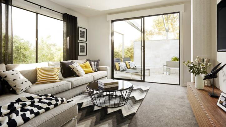 Diseño de sala estar con terraza