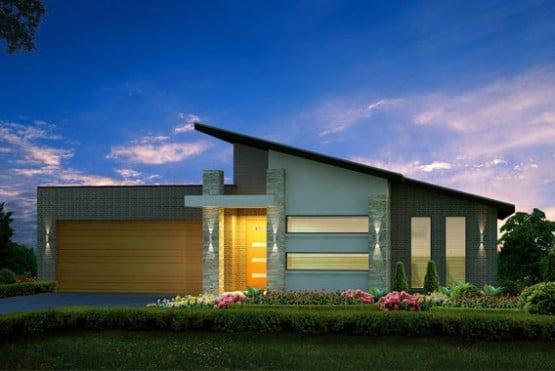 Hermosa fachada que combina materiales como piedra y materiales cerámicos tipo ladrillo, el techo a una agua dan jerarquía a la casa al igual que el pórtico del ingreso principal.