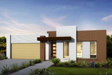 Un agradable pórtico formado por una columna y cubierto por un techo virtual nos dan la bienvenida a esta casa, una pared con textura de ladrillos le dan carácter a la fachada.