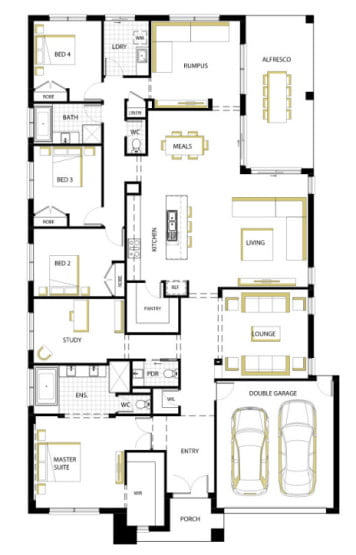 Plano de la moderna casa de un piso