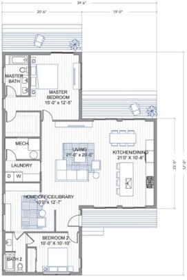 El ingreso principal está en la parte inferior central, el área social es un gran espacio abierto donde se incluyen la sala, el comedor y la cocina o kitchenet en este caso
