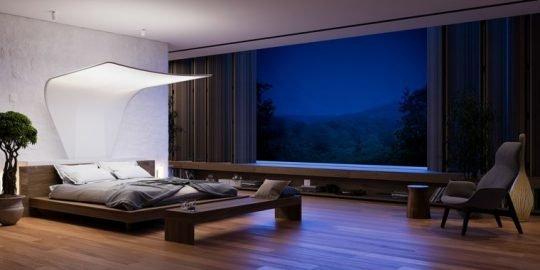 cama-grande-techo-lampara