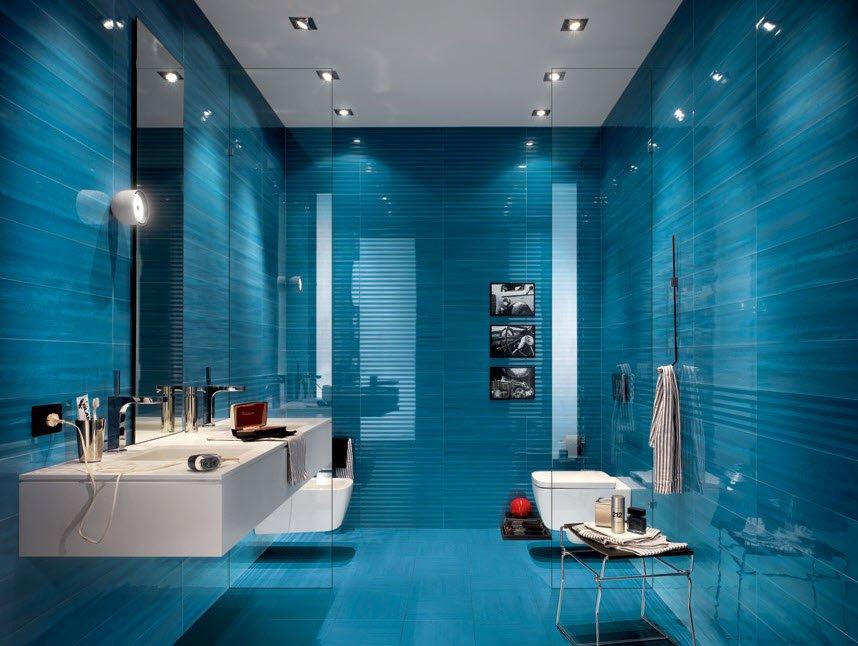 Éste tono de color azul y texturas junto con la iluminación a través de luces dicroicos consiguen darle un efecto moderno y elegante a este pequeño espacio