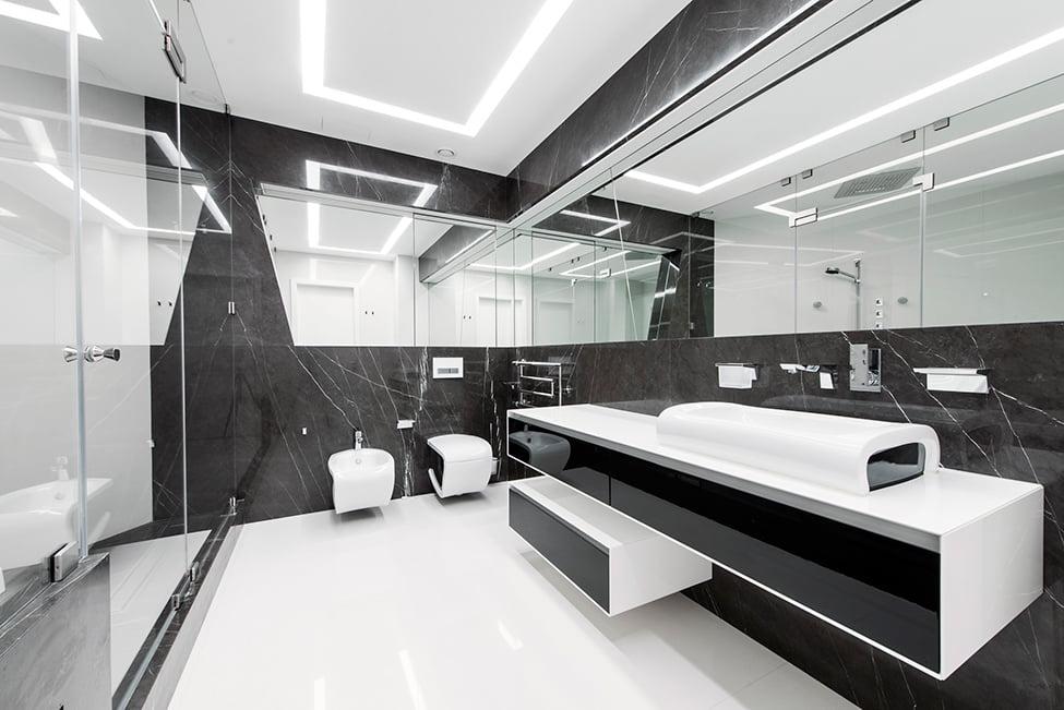 Diseño-de-cuarto-de-baño-futurista-en-blanco-y-negro - Constructora ...