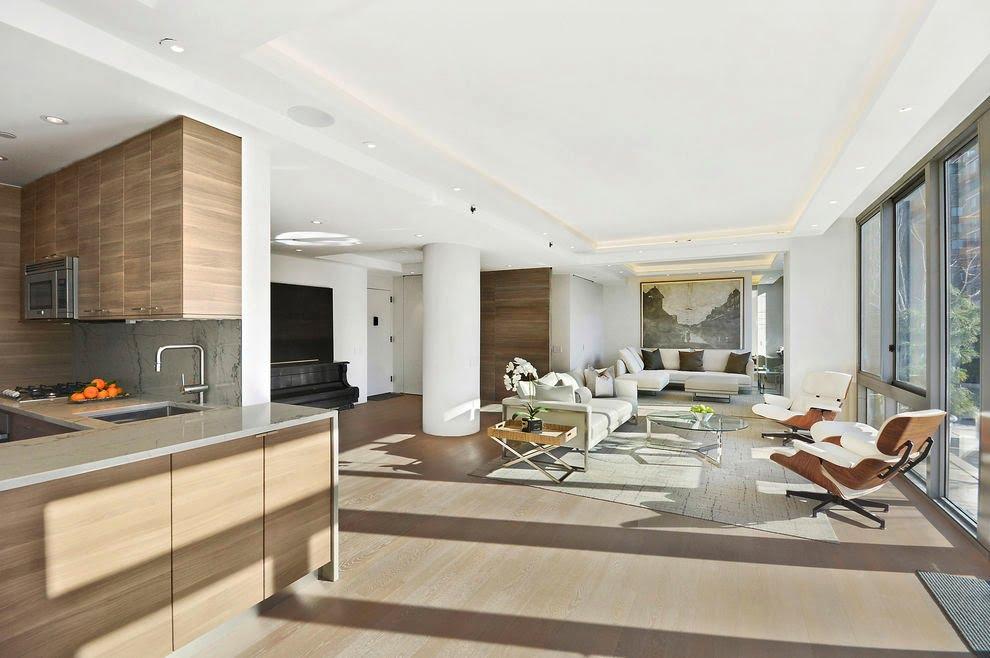 Vista del diseño del kitchenet y la sala