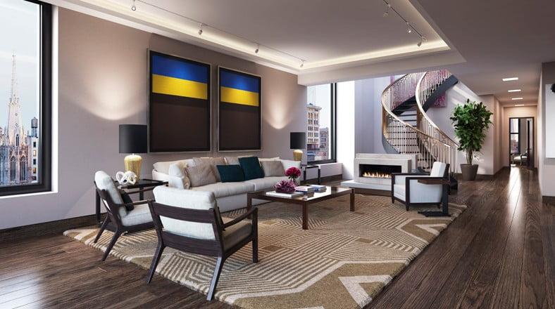 Diseño de interiores sobrio de la sala, tiene un falso techo retroiluminado que le da un aire moderno al departamento