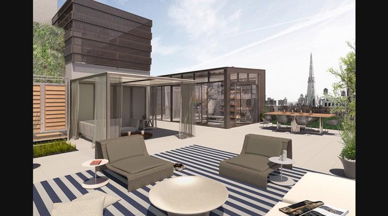 La azotea del departamento de lujo ha sido transformada en una terraza sencilla ideal para el descanso y relax a cualquier hora del día, cuenta con un área delimitada por lienzos y una hermosa vista a la ciudad