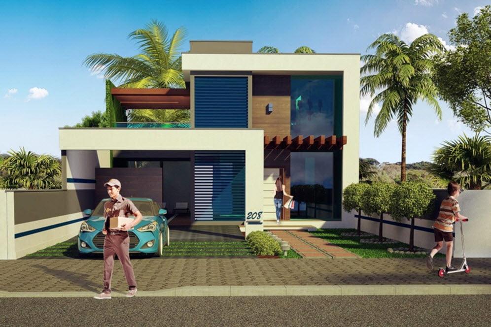 Diseño casa moderna de dos niveles #3 | Constructora Paramount