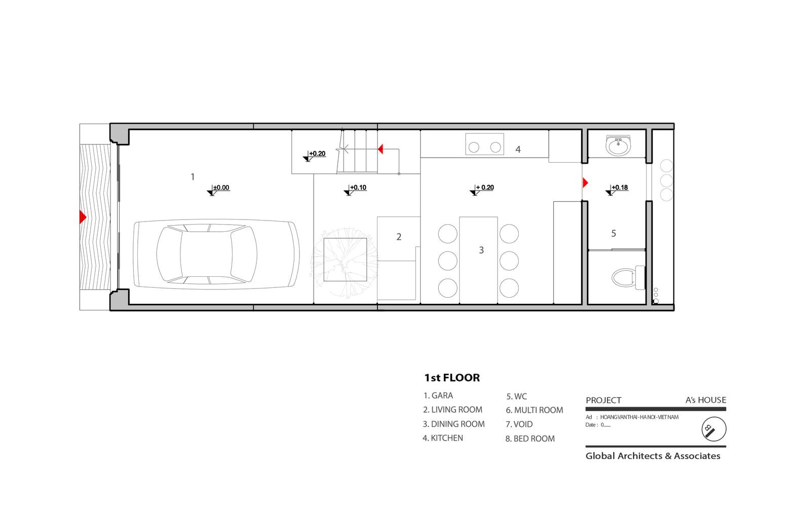 Plano del primer piso de la casa