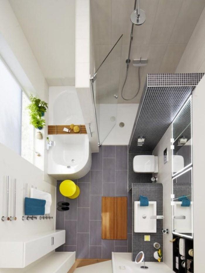 en el cuarto diseo vemos que se ha separado la ducha y la tina con un muro alto el lavabo e inodoro estn colocados de forma lineal en un espacio definido