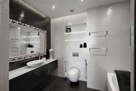 Vista completa del diseño del cuarto de baño en blanco y negro