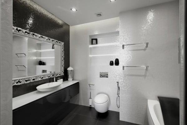 Diseño-de-cuarto-de-baño-color-negro - Constructora Paramount