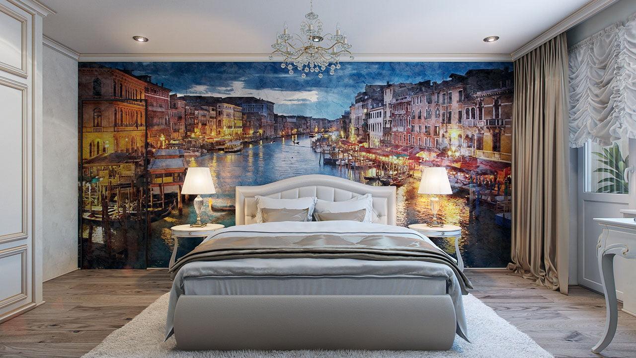 Un gran cuadro en la parte posterior de la cama es un buen sustituto para los trabajos de madera y textiles que hemos visto en los diseños de arriba (Pavel Vetrov)