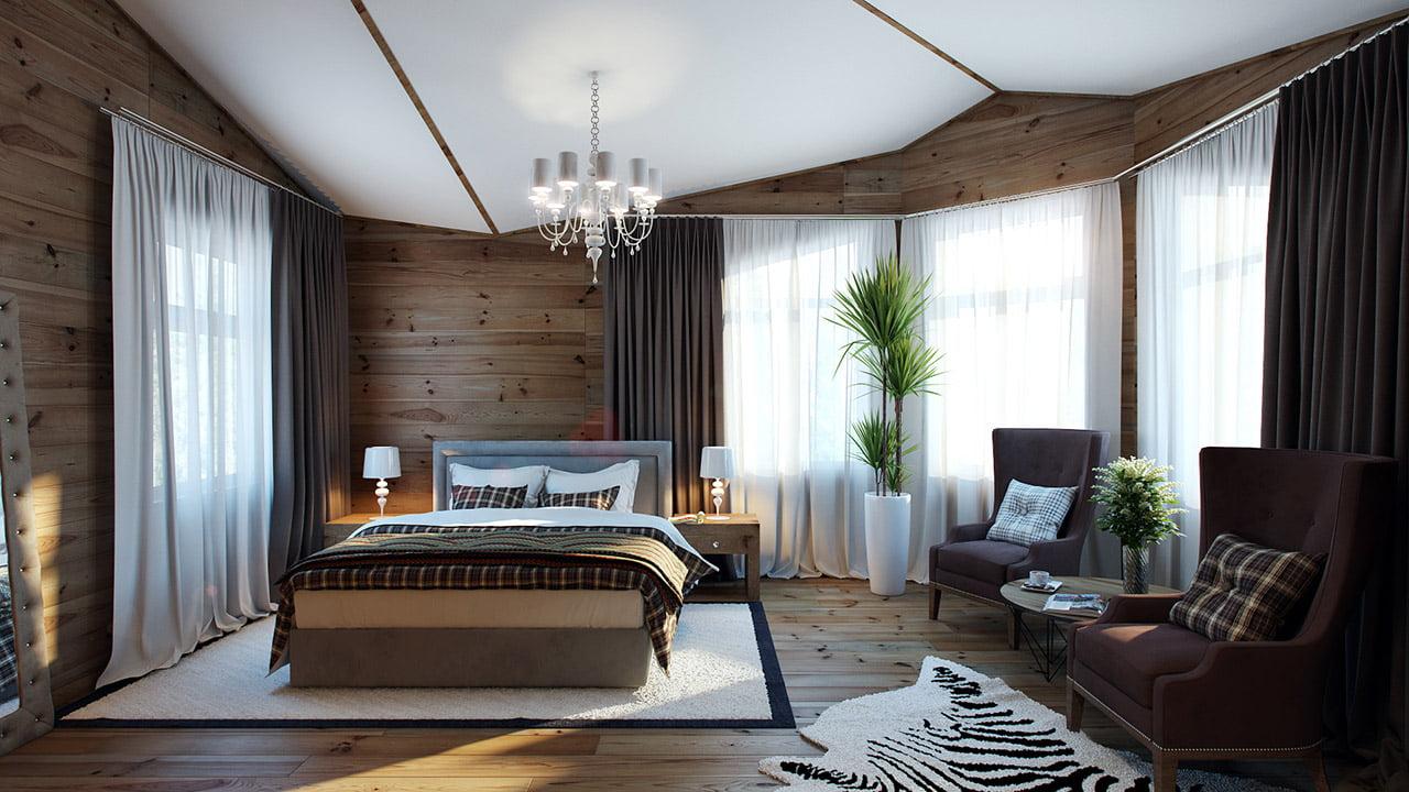 La calidez que brinda la madera va más allá de ser una moda, aquí se ha combinado con algunos textiles de formas geométricas cuadradas marrones, el techo blanco logra darle resplandor a la habitación (Pavel Vetrov)