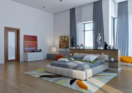 Las funciones principales de un dormitorio son el relajarse y dormir plácidamente, en éste diseño la amplitud  y los colores aplicados a paredes y cortinas nos llevan a satisfacer estas necesidades (Anna Marinenko)