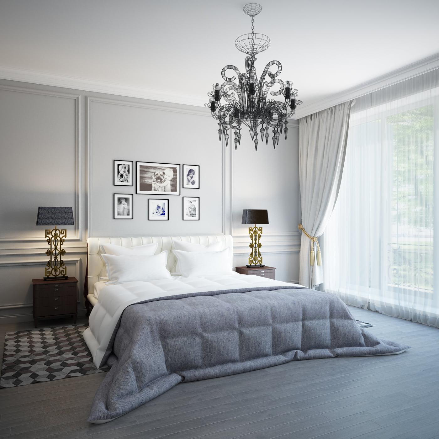 Una hermosa lámpara araña que parece ser hecha con la técnica de filigrana destaca sobre los colores neutros de las paredes y accesorios decorativos (Yury Rybak)