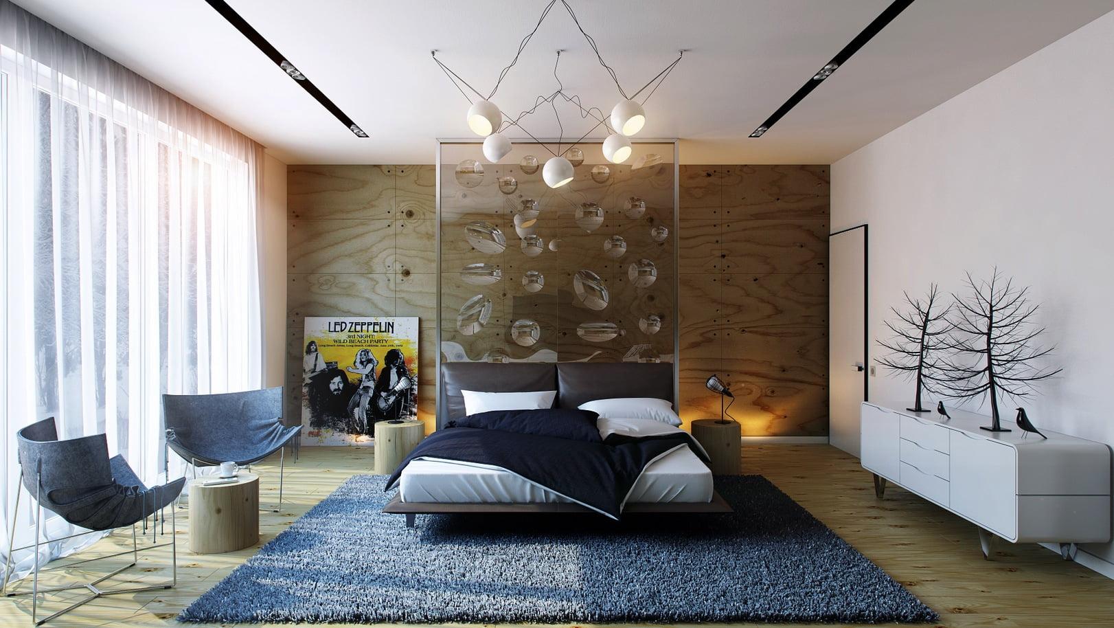 En esta habitación se agregaron varias piezas decorativas para conformar un conjunto armonioso, no pudo faltar un póster de gráficos clásicos colocado al nivel del suelo (Pavel Vetrov)