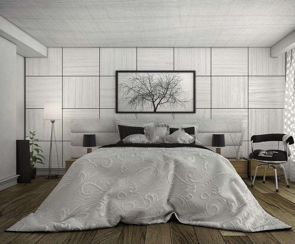 Un cuarto inspirado en lo natural, un piso de madera rústico y unas paredes y techo con figuras que simulan ramas y para complementar un cuadro de una árbol otoñal (Blckwtrpark)