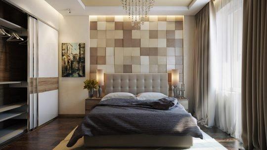 Un diseño de dormitorio donde destaca la pared detrás de la cama con un trabajo en tejidos (Pavel Vetrov)