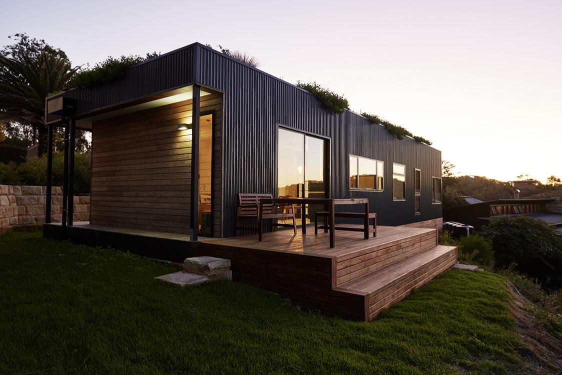 Fachada posterior de la moderna casa de campo