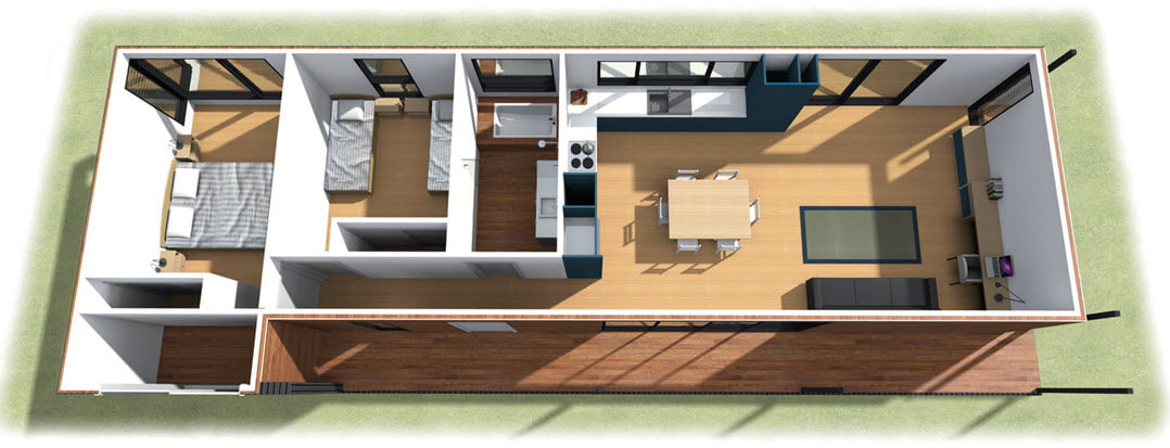 Plano 3D de distribución de ambientes | Diseño e imágenes: ArchiBlox – Avalon House