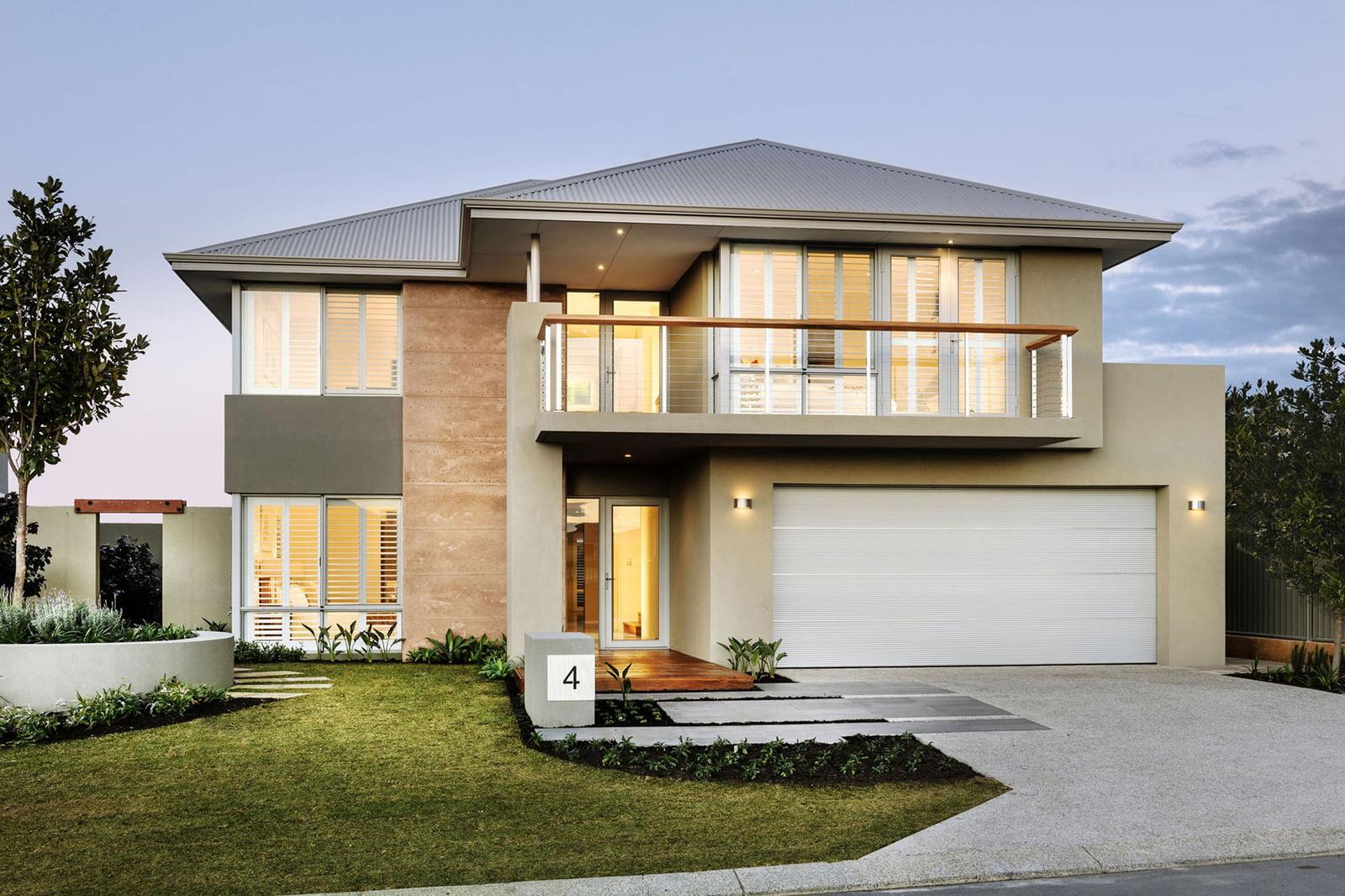 Fachada de la casa de dos pisos (Diseño: Webb & Brown-Neaves)