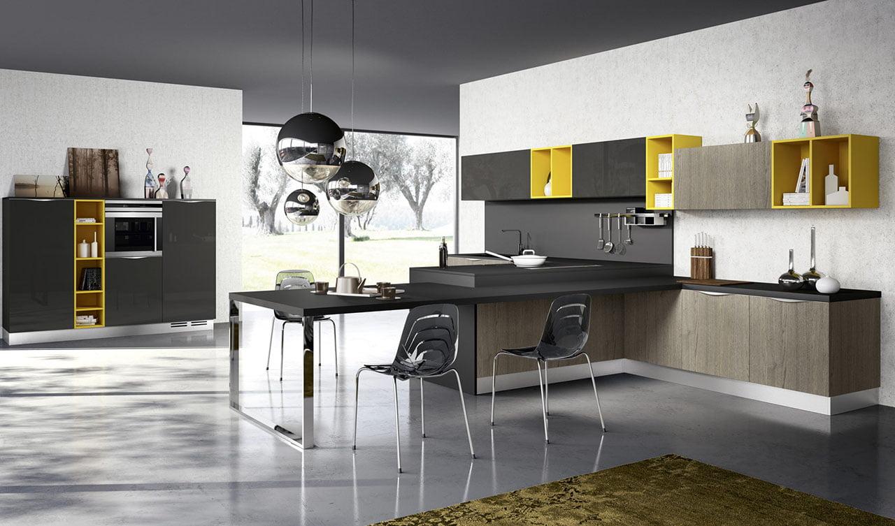 Diseño-de-cocina-contemporánea-color-amarillo-y-gris - Constructora ...