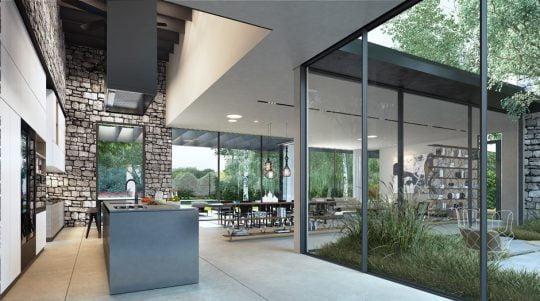 Moderno diseño de la sala y la cocina con enchapado en piedra