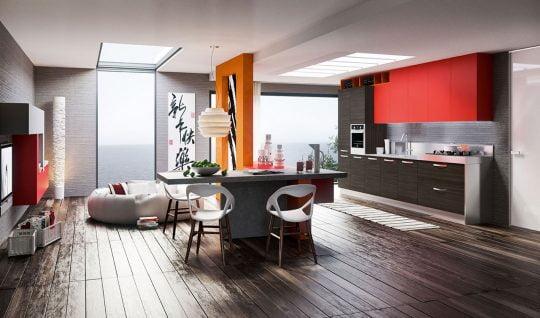 Otra perspectiva de la cocina que hemos visto en la imagen superior, como podemos ver los muebles y la lámpara del techo complementan el conjunto del diseño de interiores