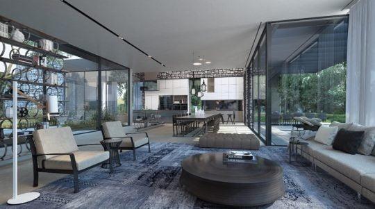 En el diseño de interiores de la vivienda se ha aprovechado la excelente iluminación natural proveniente de los grandes ventanales