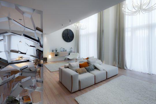 Diseño de interiores de sala con luminarias tipo araña de estilo moderno