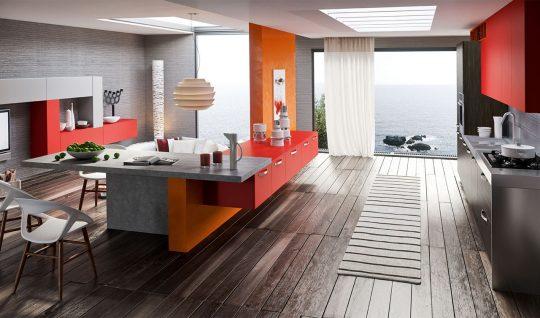 Este diseño de cocina se han empleado fuertes colores como el rojo y el anaranjado muy usados en el arte pop, se ha combinado con el gris y el negro haciendo una buena combinación de colores