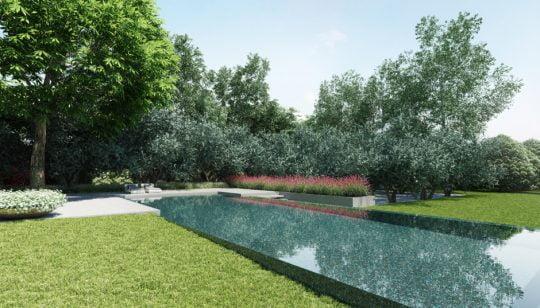 La piscina luce también como un espejo de agua y se integra perfectamente al entorno