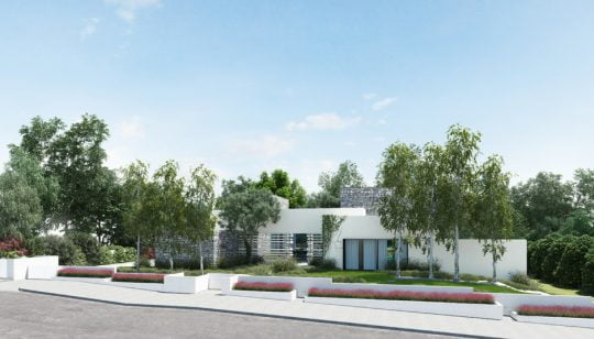 Moderna fachada de casa de un piso (Diseño: Ando Studio)