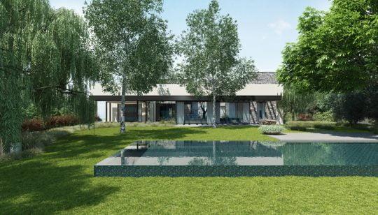 Diseño de la piscina que también es parte de la decoración posterior de la casa