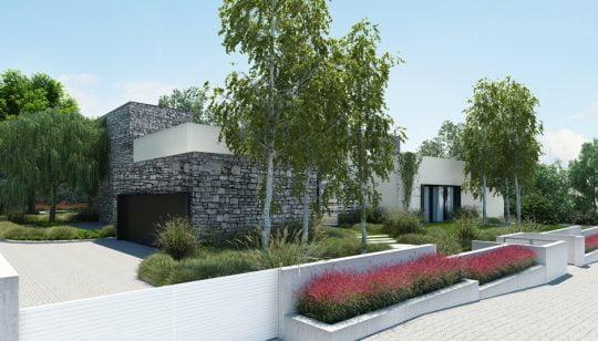 Diseño del cerco perimétrico con paredes lisas pintadas de blanco, se ha colocado arbustos con flores de color rojo en las jardineras