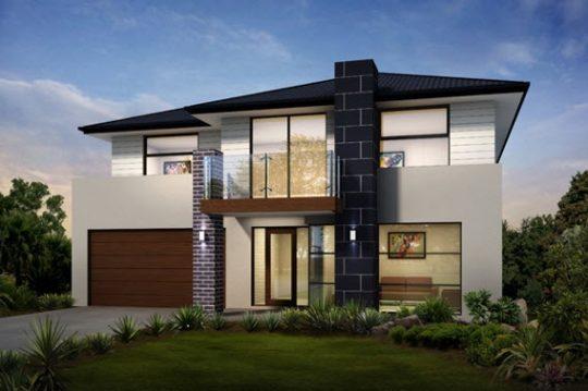 Lineas rectas de diseño, elementos constructivos como la piedra, madera y ladrillo expuesto en la fachada, tejado semiplano