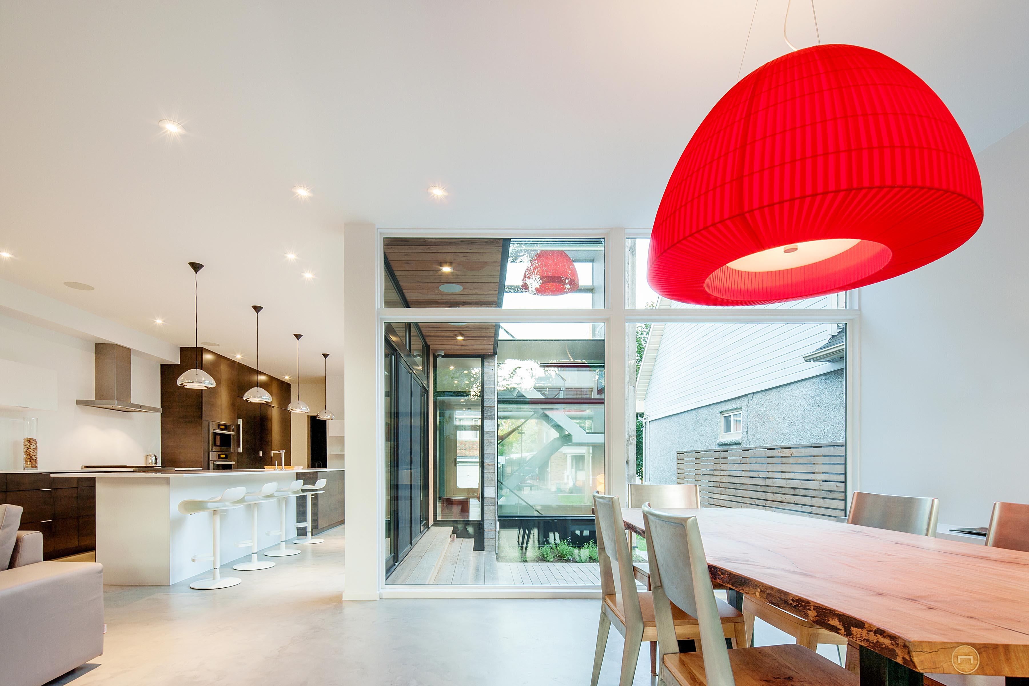 Diseño de interiores de la cocina comedor