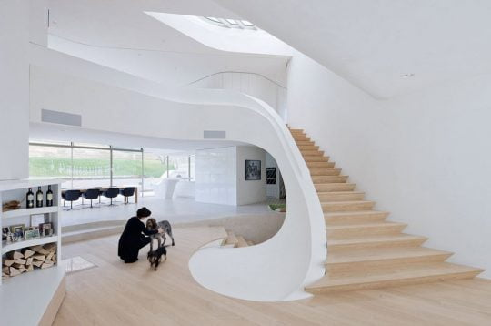 este modelo podemos ver como la estructura orgánica de la fachada también se ha llevado al interior de la casa