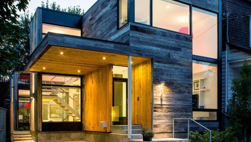 Casa de 2 plantas con fachada de madera constructora - Casas de madera de dos plantas ...