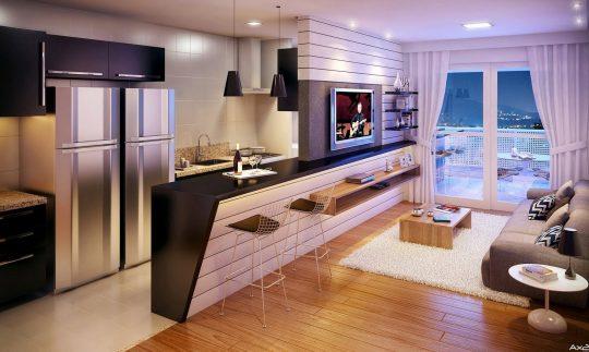 Sobre la isla de la cocina se ha construido un ligero muro para colocar el televisor, de esta forma la sala, cocina y comedor han quedado muy bien integrados en un sólo ambiente (Ax Studio)