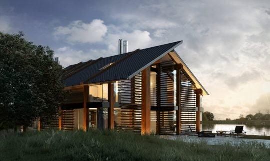 En éste lado de la casa se aprecia cómo las columnas de madera tienen una aparente continuidad en el techo, la casa es casi transparente y esta parcialmente cubierta con las persianas de madera horizontales