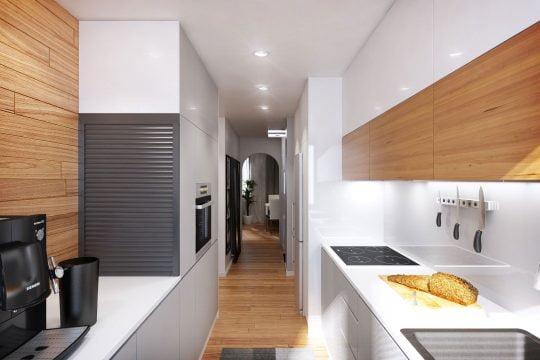 """La cocina tiene forma de """"U"""" y si bien ha sido construida en un pequeño espacio es completamente funcional"""