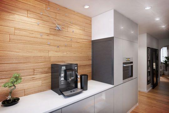 Vista de los muebles de cocina con encimera blanca brillante, combina perfectamente con un muro cubierto de laminado color roble claro