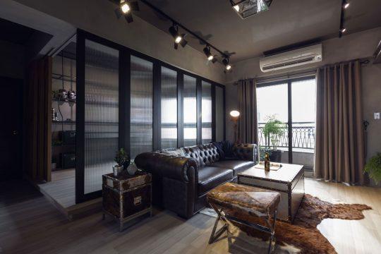 Diseño de la sala y cuarto de estudio detrás del separador
