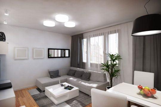 Los tonos de las paredes se mantienen igual que el diseño de la foto superior, pero se ha cambiado los colores del las cortinas y detalles decorativos