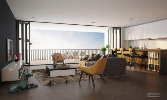 Una gran ventana de piso a techo nos permite expandir las visuales al horizonte, utiliza este recurso cuando dispones de un hermoso exterior como un parque o el mar (Nic Nguyen)